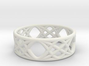 Sine Ring Flat in White Natural Versatile Plastic
