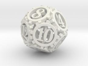 Steampunk Gear d12 in White Natural Versatile Plastic