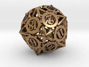 Steampunk Gear d20 in Raw Brass