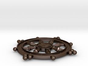 Wheel of Life Pendant - Dharmachakra in Polished Bronze Steel