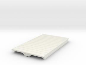O9 4w Long Flat car  in White Natural Versatile Plastic