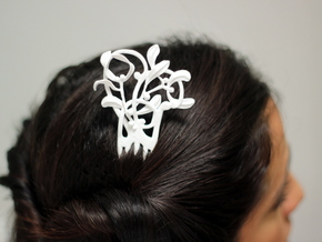 Nouveau Hair Comb Mistletoe in White Acrylic