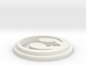Pommel Insert With Rebel Logo in White Natural Versatile Plastic