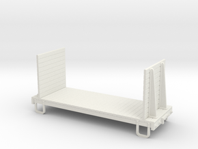 On30 16ft flat car - high ends  in White Natural Versatile Plastic