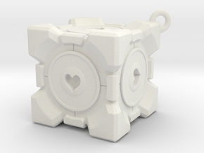 Companion Cube Necklace in White Natural Versatile Plastic