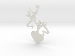 Deer and Doe pendant in White Natural Versatile Plastic