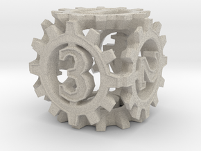 D6 Gear Type 1-(Steampunk/Cog Tinge) in Natural Sandstone