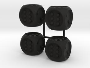 Braille Dice x4 in Black Natural Versatile Plastic