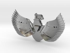 Indonesia Pendant Broche necklace in Natural Silver