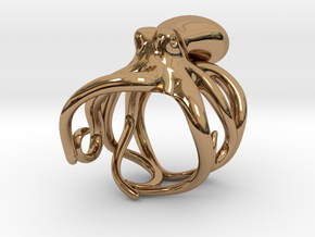 Octopus Ring 18mm in Polished Brass