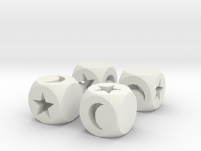 Moon & Stars Fudge Dice (x4) HOLLOW Fate DF in White Natural Versatile Plastic
