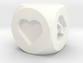 Hearts Fudge Dice SOLID (x1) Fate dF in White Strong & Flexible Polished