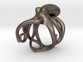 Octopus Ring 15mm in Polished Bronzed Silver Steel