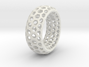 Hexagon Pattern Bracelet in White Natural Versatile Plastic