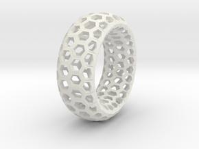 Hexagon Pattern Bracelet in White Natural Versatile Plastic