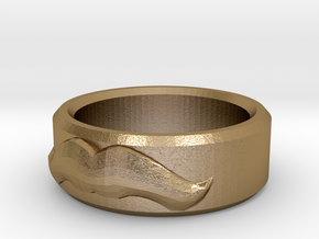 Moustache Ring - Size 12 in Polished Gold Steel
