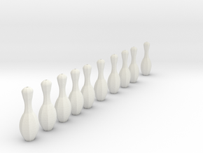 bowling pins, for mini bowling needs thread to att in White Natural Versatile Plastic
