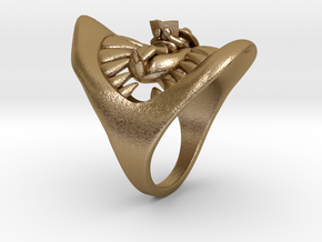 Jaws ring in Polished Gold Steel