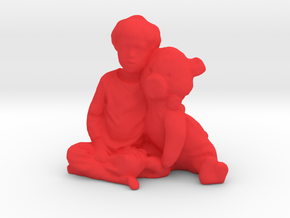 A Boy And His Pig in Red Processed Versatile Plastic
