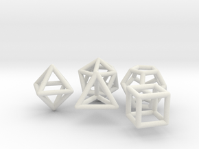 Platonic Solids Set in White Natural Versatile Plastic