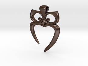 Owl Heart Pendant in Polished Bronze Steel
