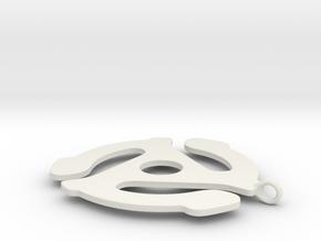45 Record Player Adapter Pendant in White Natural Versatile Plastic