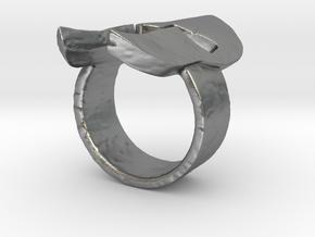 Spartan Helmet Ring in Natural Silver