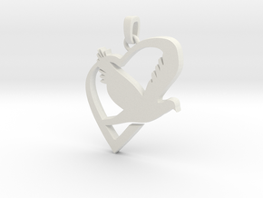 Love & Peace Pendant in White Natural Versatile Plastic