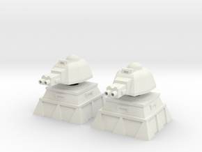 28mm Heavy Machinegun Turret and Bunker (x2) in White Natural Versatile Plastic