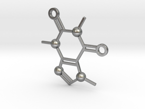 Cafeine molecule Pendant in Raw Silver