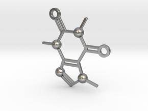 Cafeine molecule Pendant in Natural Silver