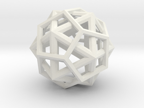 IcosoDodecahedron Thick - 3.5cm in White Natural Versatile Plastic