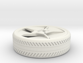 wheel for a miniature BM car in White Strong & Flexible