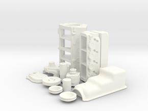 1/12 Stock BBC Block Kit (No Mech Fuel Pump) in White Processed Versatile Plastic