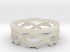 Bones Crown Design Ring - Size 10 in White Acrylic