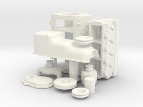 1/8 Stock BBC Block Kit (No Mech Fuel Pump) in White Processed Versatile Plastic