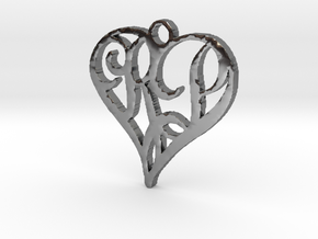 Heart pendant necklace with initials R & P in Fine Detail Polished Silver