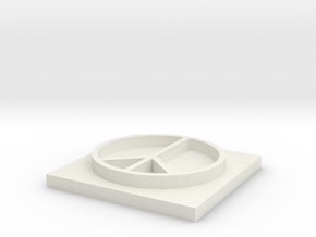 Peace Sign Stamp in White Natural Versatile Plastic