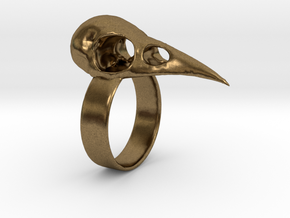 Realistic Raven Skull Ring - Size 7 in Natural Bronze