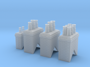 Chimney Types 1,2,3 & 4 N Scale in Frosted Ultra Detail