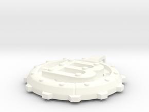 """Steampunk Monogram Pendant """"B"""" in White Processed Versatile Plastic"""