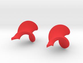 Twisted leaf earrings in Red Processed Versatile Plastic