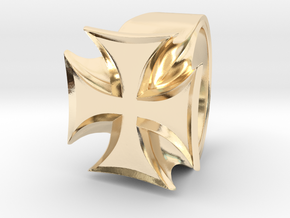 Iron Cross Ring in 14K Yellow Gold