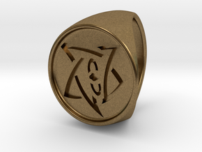 Elder Sign Signet Ring Size 8.5  in Natural Bronze