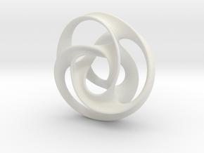 large trefoil mobius torus in White Natural Versatile Plastic