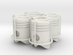 4x Piston tire valve cap in White Natural Versatile Plastic