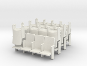 Theater Seats Ver E O Scale 4x7 and 1 single in White Natural Versatile Plastic
