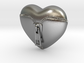Leather Zipped Heart Pendant in Natural Silver