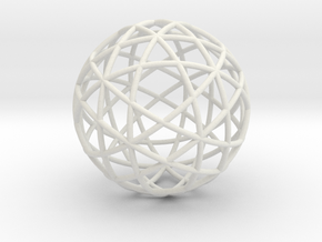 Star Cage: Sacred Geometry 12 Circles 40mm in White Natural Versatile Plastic