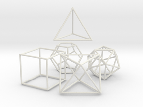 5 Platonic Solids - 35mm in White Strong & Flexible